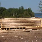Log cabin being built in North Spirit Lake.